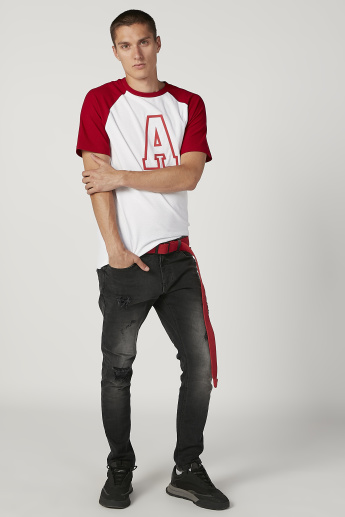 Printed T-shirt with Crew Neck and Raglan Sleeves