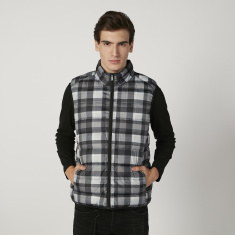 Chequered Gilet Jacket with Kangaroo Pockets and Zip Closure
