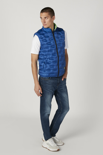 Textured Gilet Jacket with Kangaroo Pockets and Zip Closure