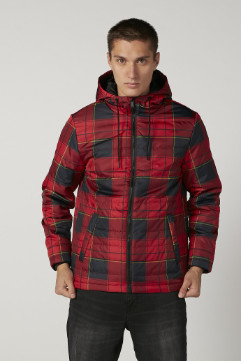 Chequered Parka Jacket with Long Sleeves and Hood