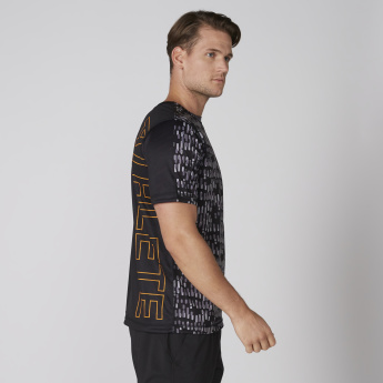 Printed 4-Way Reversible T-Shirt with Crew Neck and Short Sleeves