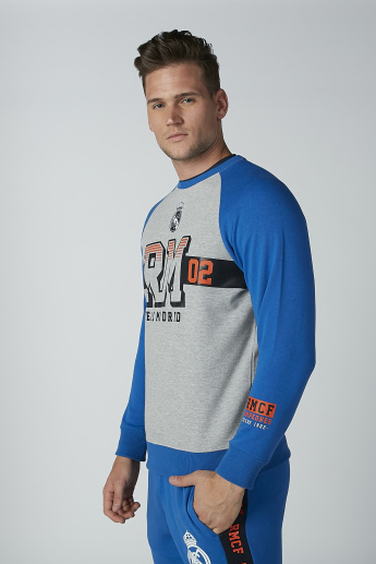 Printed Sweatshirt with Raglan Sleeves and Round Neck