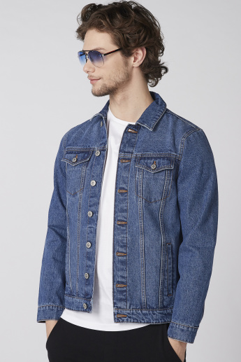 Long Sleeves Denim Jacket with Button Closure