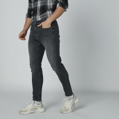 Full Length Textured Jeans with Pocket Detail