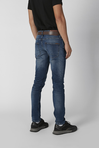 Sustainable Slim Fit Plain Jeans with Pocket Detail