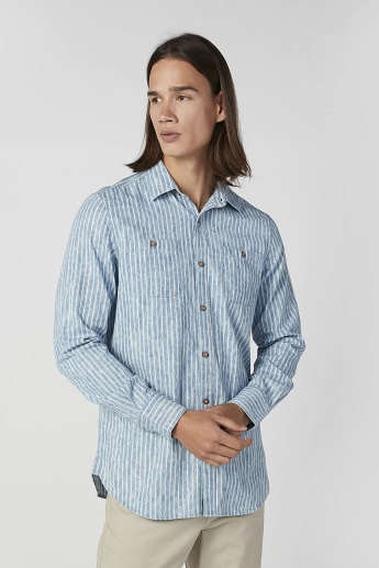 Slim Fit Striped Shirt with Long Sleeves and Chest Pockets
