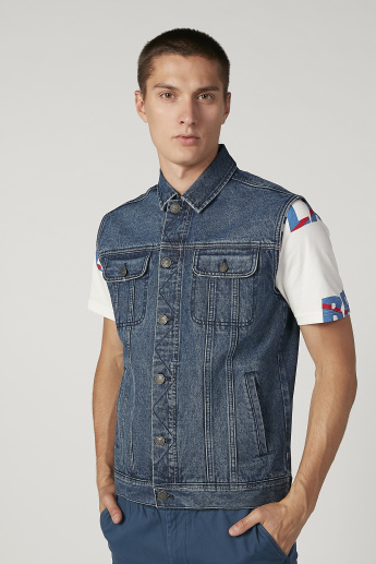 Denim Sleeveless Jacket with Kangaroo Pockets