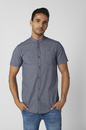 Slim Fit Textured Shirt with Mandarin Collar and Short Sleeves
