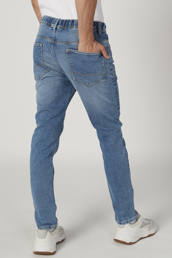 Sustainability Slim Fit Textured Low Waist Jeans with Pocket Detail