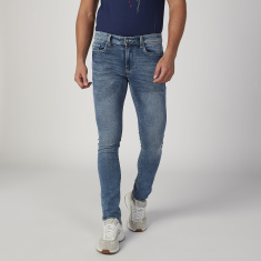 Sustainable Skinny Fit Plain Low Waist Jeans with Pocket Detail