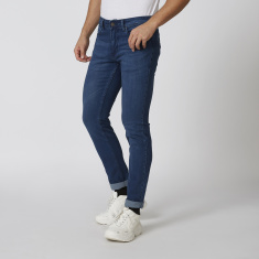 Sustainability Slim Fit Low-Rise Plain Jeans with Belt Loops