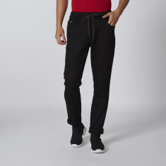 Sustainable Slim Fit Plain Jeans with Drawstring Waist