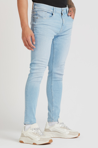 Skinny Fit Full Length Solid Low-Rise Jeans with Pocket Detail