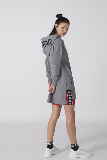 Kappa Printed Longline Sweatshirt with Long Sleeves and Hood
