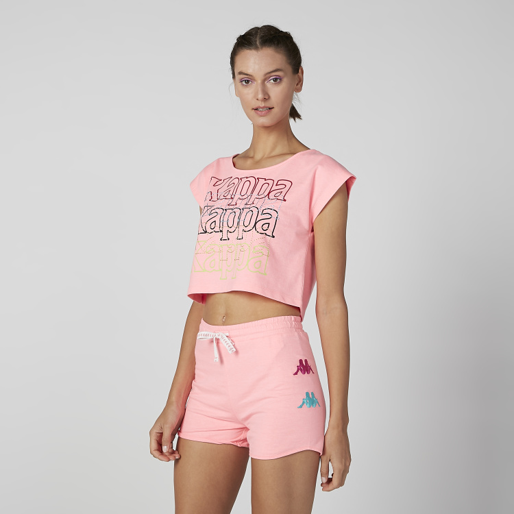 Kappa Printed Crop Top with Round Neck and Extended Sleeves