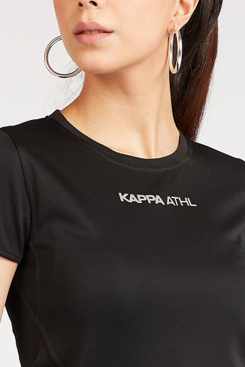 Sustainable Kappa Logo Detail T-shirt with Crew Neck and Short Sleeves