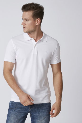 Solid Polo T-shirt with Ribbed Sleeve Hems