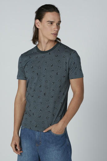 Bossini Printed T-Shirt with Crew Neck and Short Sleeves
