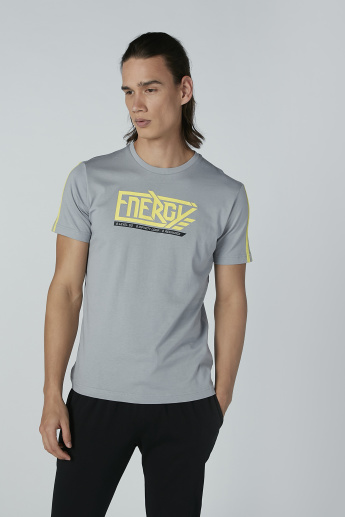 Bossini Printed T-shirt with Tape Detail and Short Sleeves