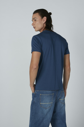 Bossini Printed Chest Pocket Detail T-shirt with Round Neck