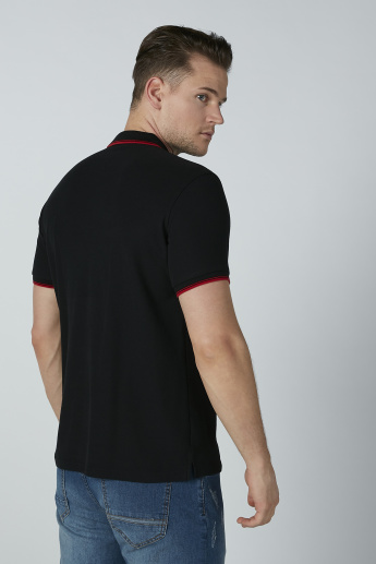 Bossini Plain T-shirt with Polo Neck and Short Sleeves