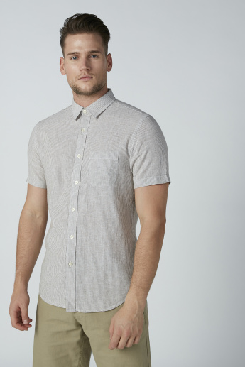 Bossini Striped Shirt with Short Sleeves and Spread Collar