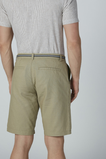 Bossini Plain Shorts with Pocket Detail and Zip Fly Closure