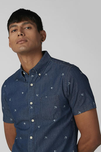 Bossini Embroidered Shirt with Short Sleeves and Chest Pocket
