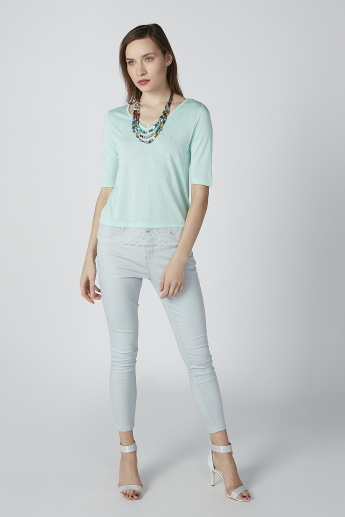 Bossini Lace Detail T-shirt with V-neck and Short Sleeves