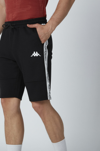 Kappa Printed Tape and Pocket Detail Shorts with Drawstring
