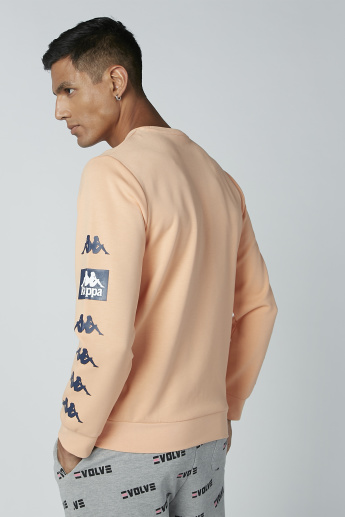 Kappa Printed Sweater with Long Sleeves and Round Neck