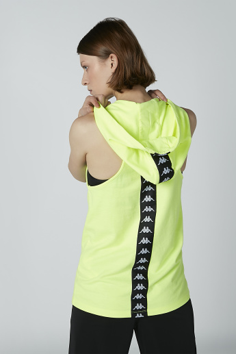 Kappa Printed Sleeveless Top with Hood and Tape Detail