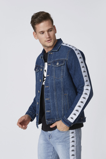 Kappa Printed Denim Jacket with Buttoned Flap Pockets and Long Sleeves