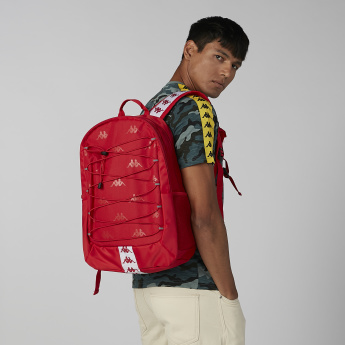 Kappa Logo Printed Backpack with Zip Closure