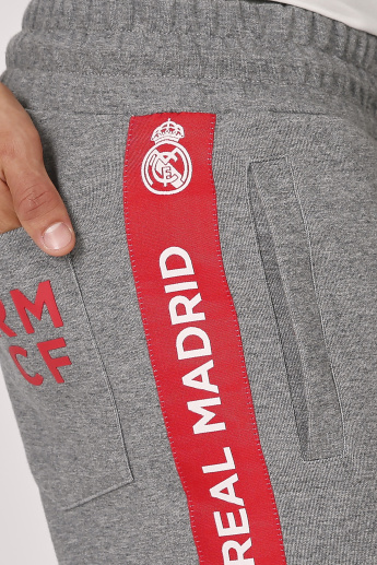 Real Madrid Printed Jog Pants with Elasticised Waistband and Pockets
