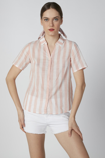 Bossini Striped Shirt with Short Sleeves and Collar