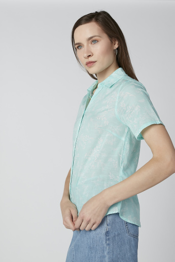 Bossini Printed Shirt with Short Sleeves and Spread Collar