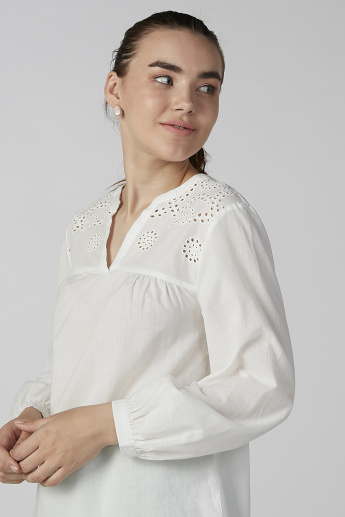 Bossini Schiffli V-neck Top with Long Sleeves