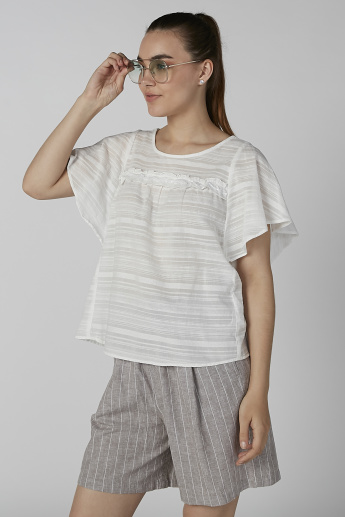 Bossini Textured Top with Round Neck and Ruffle Detail