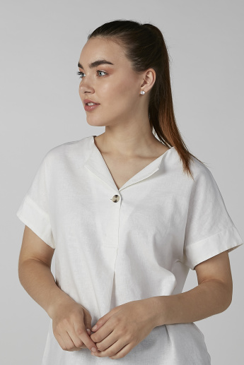Bossini Plain Top with V-neck and Short Sleeves