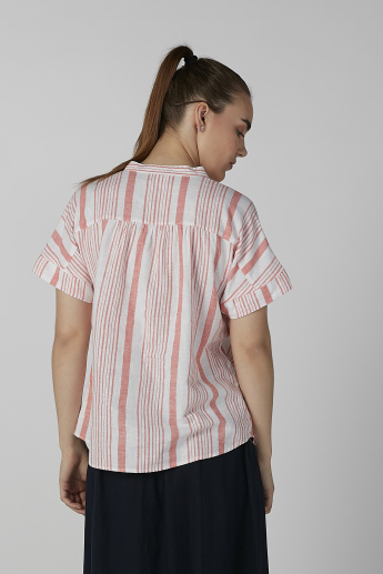 Bossini Striped Top with Mandarin Collar and Short Sleeves
