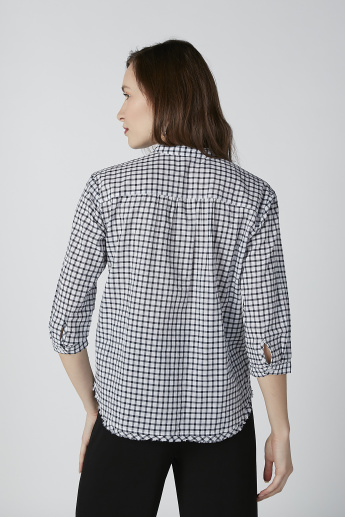 Bossini Chequered Shirt with Mandarin Collar and 3/4 Sleeves