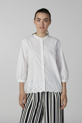 Bossini Schiffli Shirt with Mandarin Collar and 3/4 Sleeves