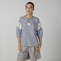 Bossini Striped Top with Lace Detail and Tie Ups