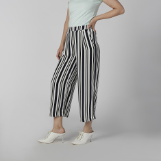 Bossini Striped Culottes with Pocket Detail