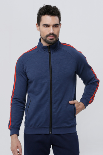 Contrast Binding Jacket with Zip Closure and Long Sleeves