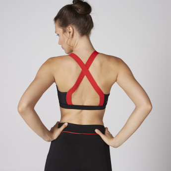Scoop Neck Sports Bra with Crossed Back Straps