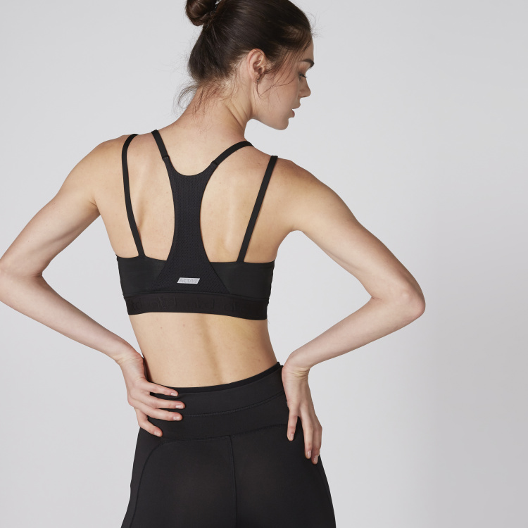 Mesh Detail Sports Bra with Racer Back