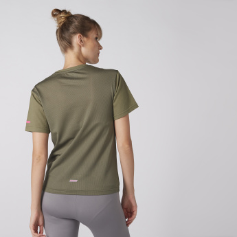 Tape Detail T-Shirt with Round Neck and Short Sleeves