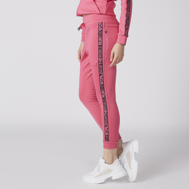 Full Length Jog Pants with Tape Detail and Drawstring